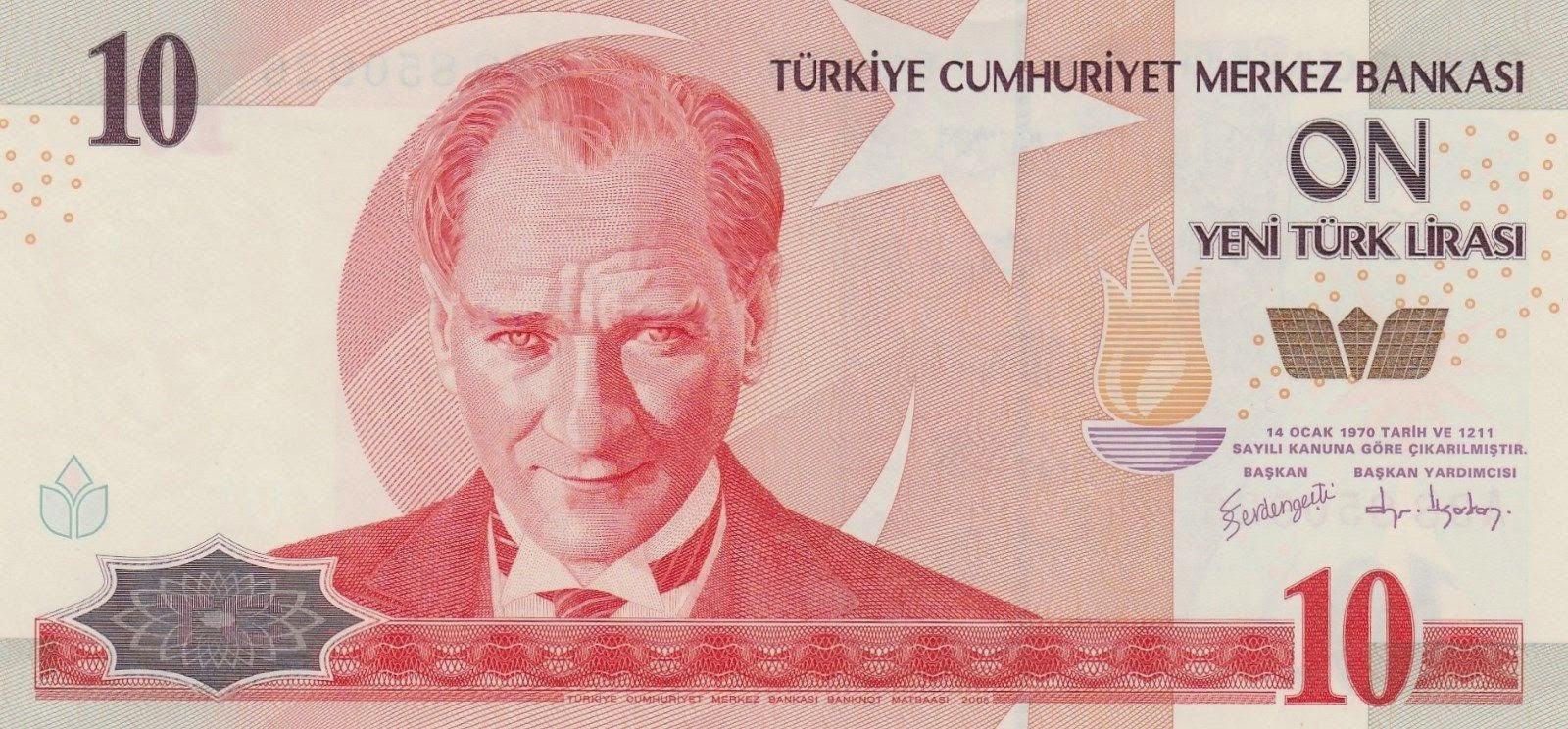 "Turkey Currency 10 New Turkish Lira ""Yeni Türk Lirasi"" banknote 2005 Mustafa Kemal Atatürk"