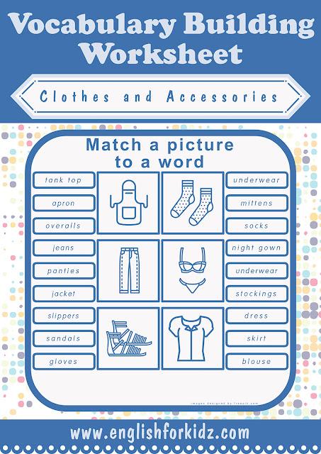 ESL clothes matching worksheet
