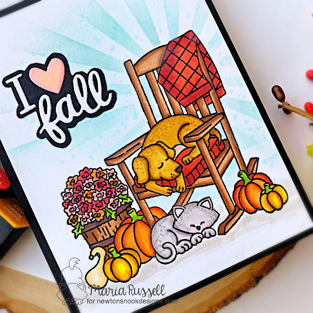 I Love Fall Card by Maria Russell | Fall Friends Stamp Set and Sunscape Stencil by Newton's Nook Designs #newtonsnook