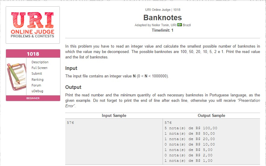 URI Online Judge Solution 1018 Banknotes - URI 1018 Solution in C, C++, Java, Python and C#