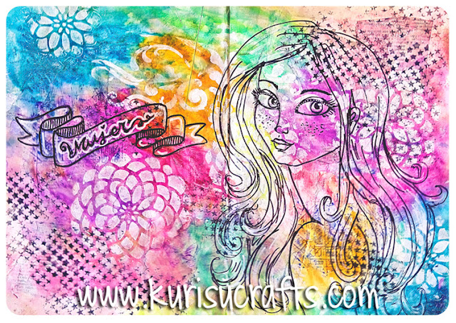 art journal de Kurisu Crafts con gelatos y stencils
