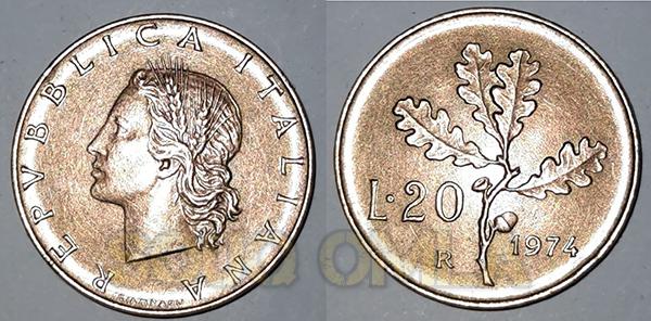 20 ليرة ايطالي - REPVBBLLCA ITALIANA - اصدار عام 1974