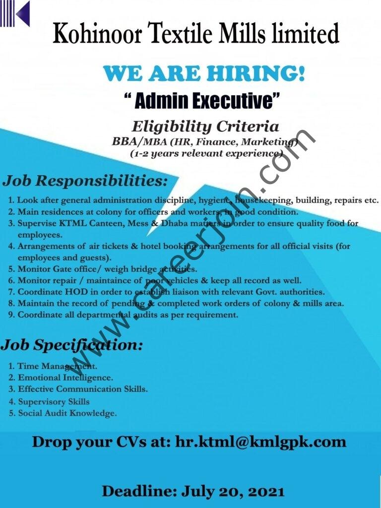 Kohinoor Textile Mills Ltd Jobs Admin Executive