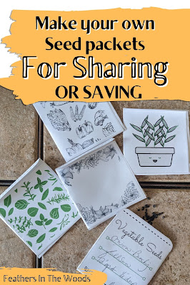 Homemade seed envelopes with seeds in them for sharing.