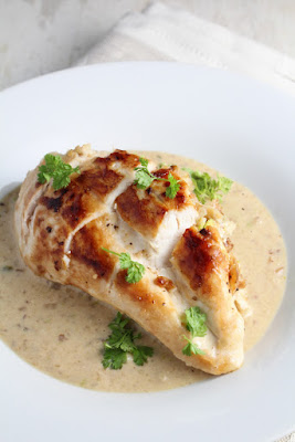 nut-stuffed chicken breasts with creamy gravy