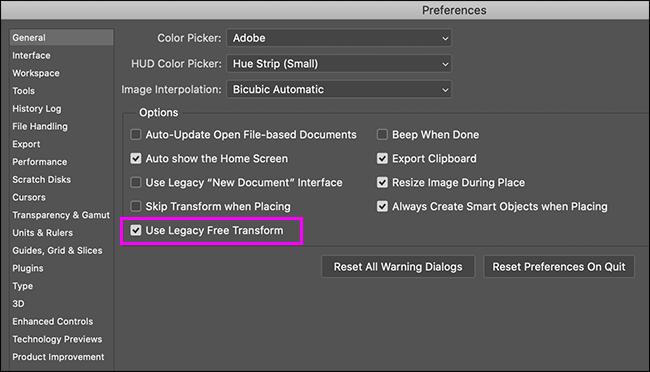 جزء التفضيلات العامة في Photoshop مع تمييز خيار التحويل المجاني القديم