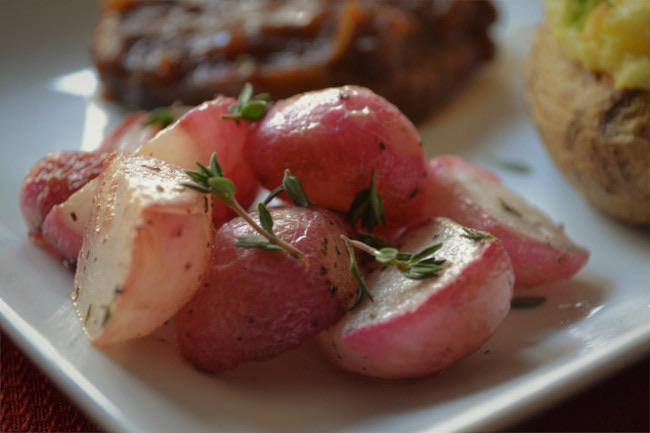 Simple Keto-Friendly Roasted Radishes by Fluster Buster featured at Pieced Pastimes