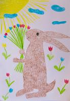 Ostermotiv Osterhase gemalt mit sonne und blumen