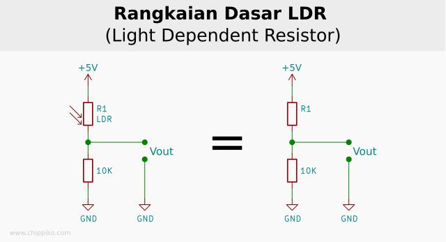 rangkaian sensor ldr, rangkaian sensor cahaya, modul sensor cahaya