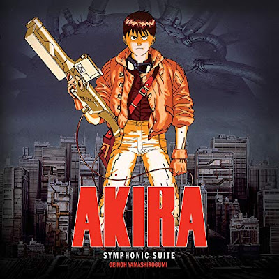 Akira Symphonic Suite vinyl cover with Kaneda holding a golden gun with Tokyo as background