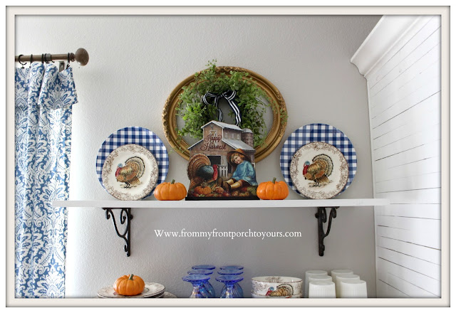 Fall Breakfast Nook Decor-Turkey Transferware-Vintage Inspired-Fall-Sign-Blue & White Decor-From My Front Porch To Yours