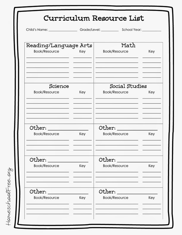 Free Printable Homeschool Curriculum Resources List ...