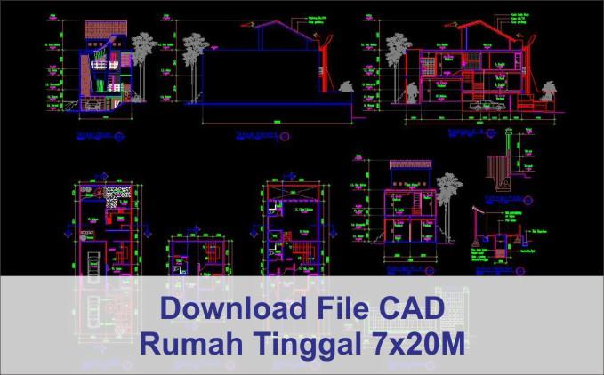 download rumah 7x20 File AutoCad