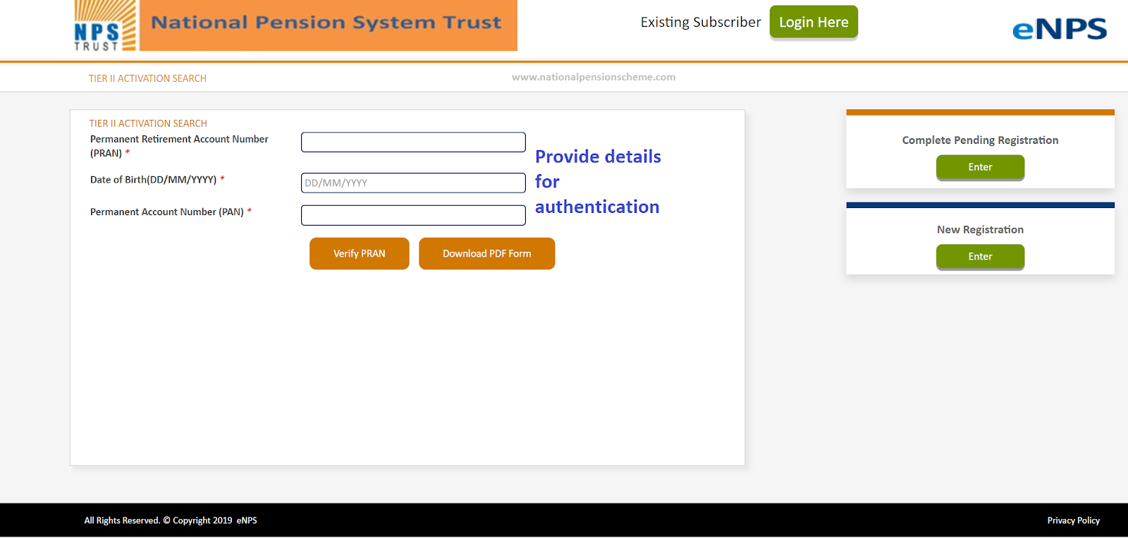Screenshot of the Tier 2 Activation screen on the Karvy eNPS portal