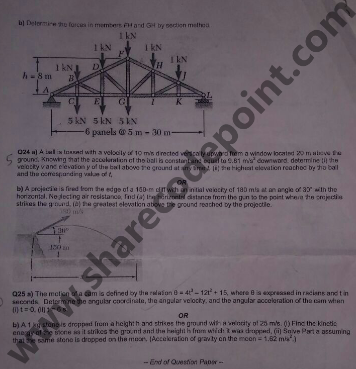 MEC107 : Basic Engineering Mechanics End Term Exam