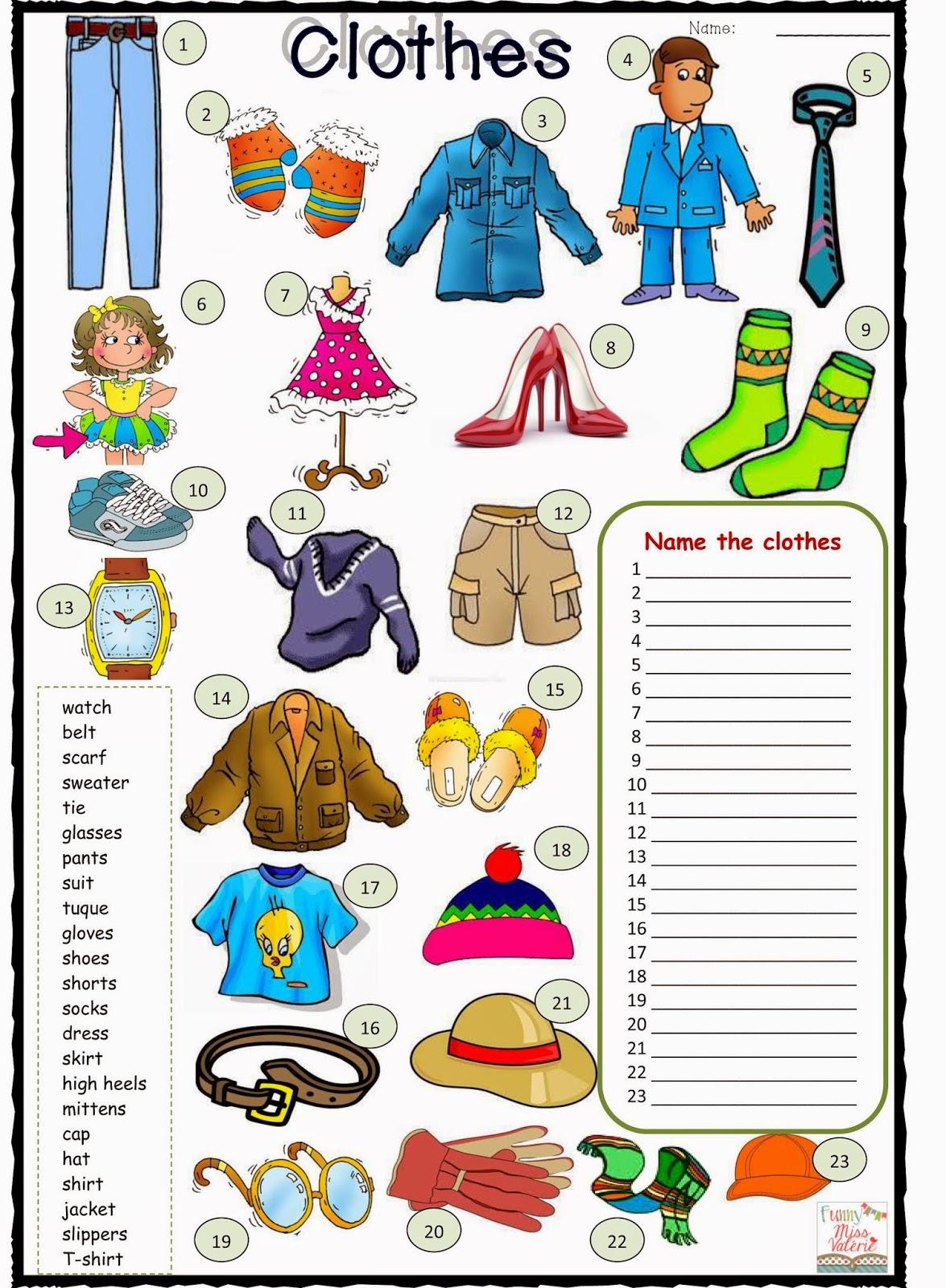 Esl English Worksheets Describing Clothes