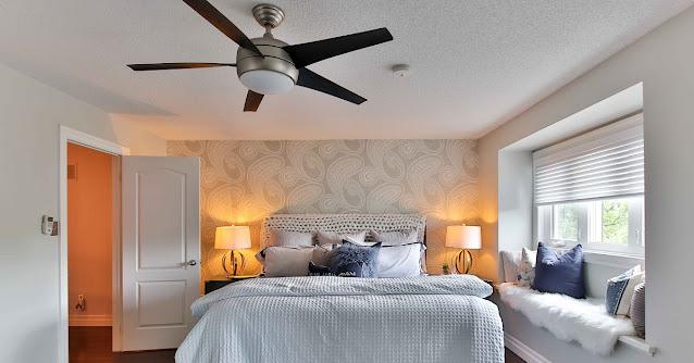 Modern ceiling fan in the bedroom.