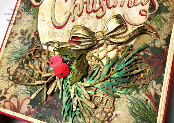 Sara Emily Barker https://sarascloset1.blogspot.com/2019/11/vintage-christmas-card-for-funkie.html Vintage Christmas Card Tim Holtz Worn Wallpaper Sizzix Thinlits Christmas Ribbon Festive Greens Funky Festive Florals Pine Branch  4