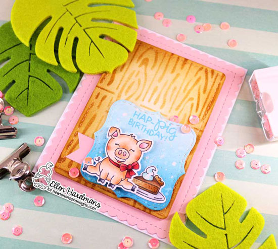 Pig Birthday Card by Ellen Haxelmans | Oink Stamp Set, Frames Squared and Frames & Flags Die Sets and Hardwood Stencil by Newton's Nook Designs #newtonsnook #handmade