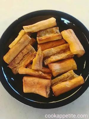 Crispy: these yuca fries are crispy oven-roasted, yet tender inside.