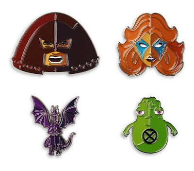 MondoCon 4 Exclusive Marvel X-Men Artist Series Portrait Enamel Pins by Tom Whalen x Mondo