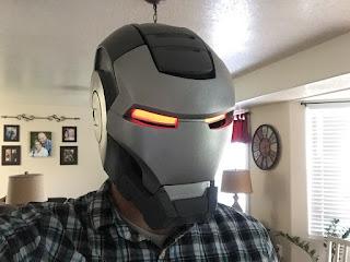 helmet with red eyes