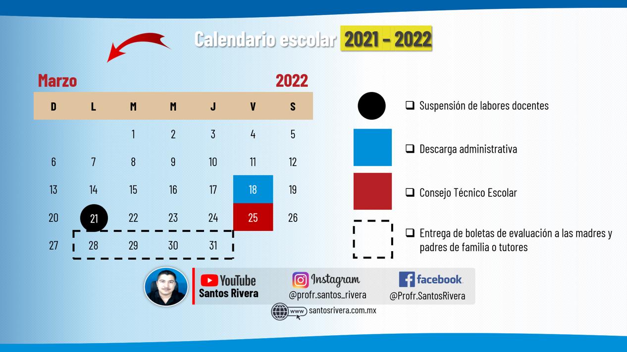 calendario escolar del mes de marzo 2021 - 2022