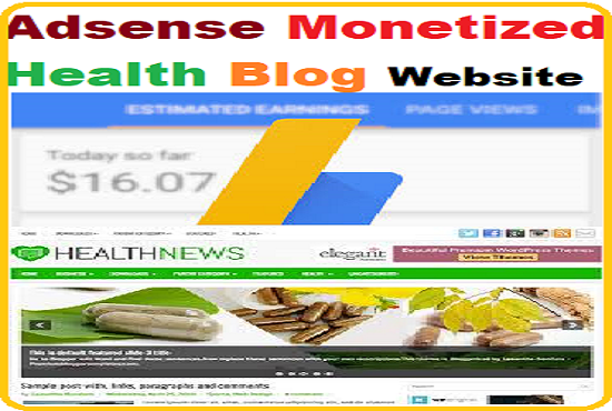 Adsense Monetized Health blog website