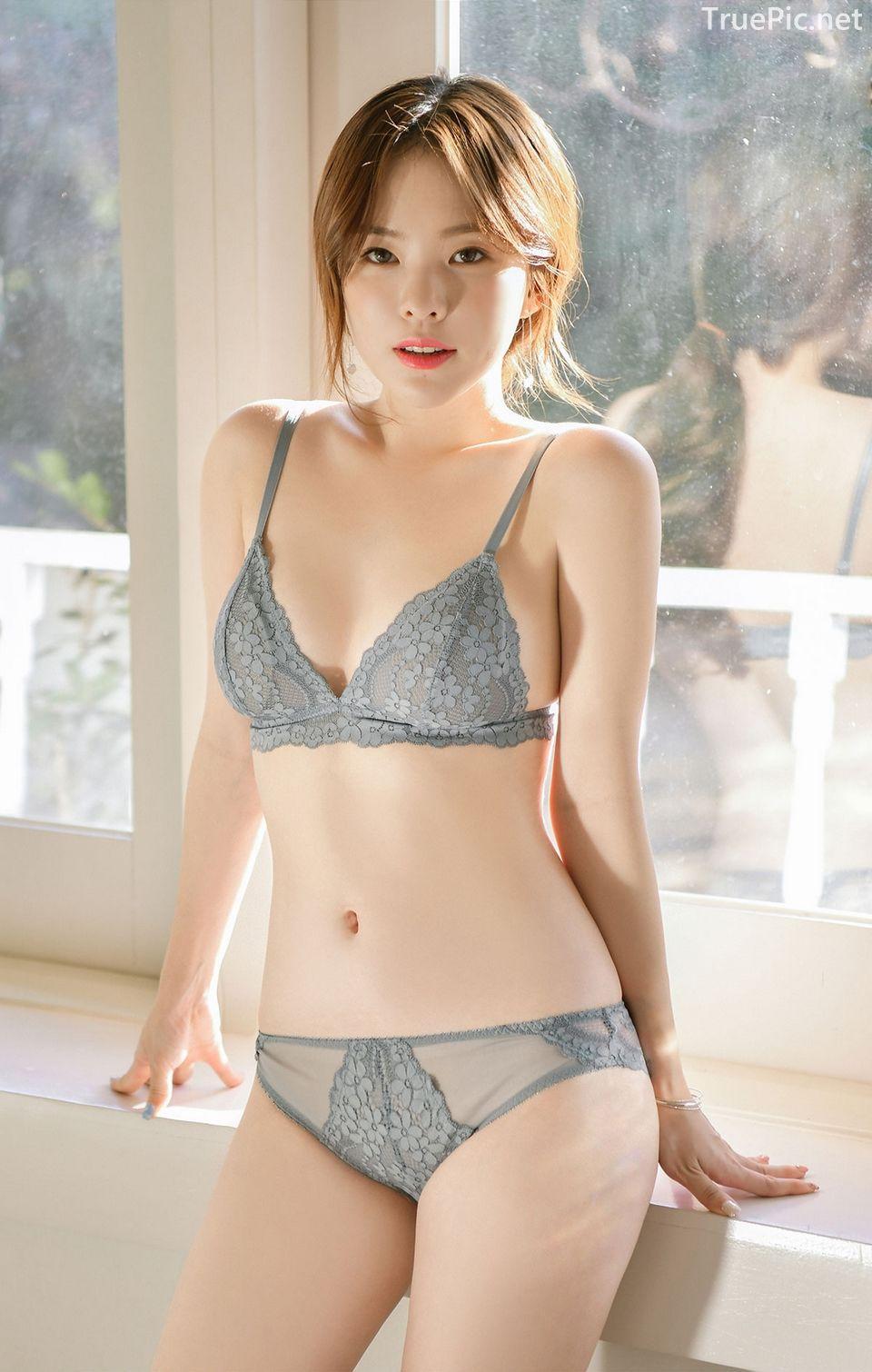 Korean model and fashion - Lingerie queen Haneul - Gray blue Lingerie set - Picture 6
