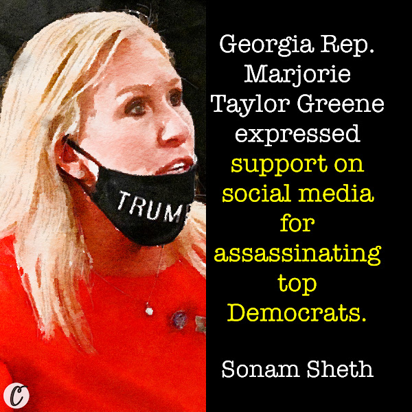 Georgia Rep. Marjorie Taylor Greene expressed support on social media for assassinating top Democrats. — Sonam Sheth, Business Insider Political Correspondent