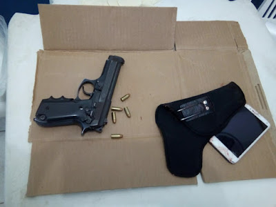 ° Cia e Civil trocam tiros com suspeitos e apreendem pistola no Muritiba