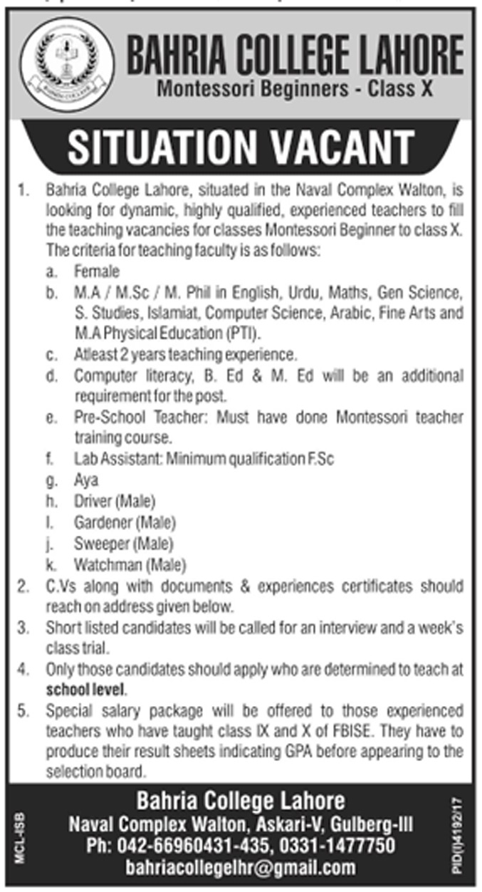 Today New Jobs In Bahria College Lahore 2018