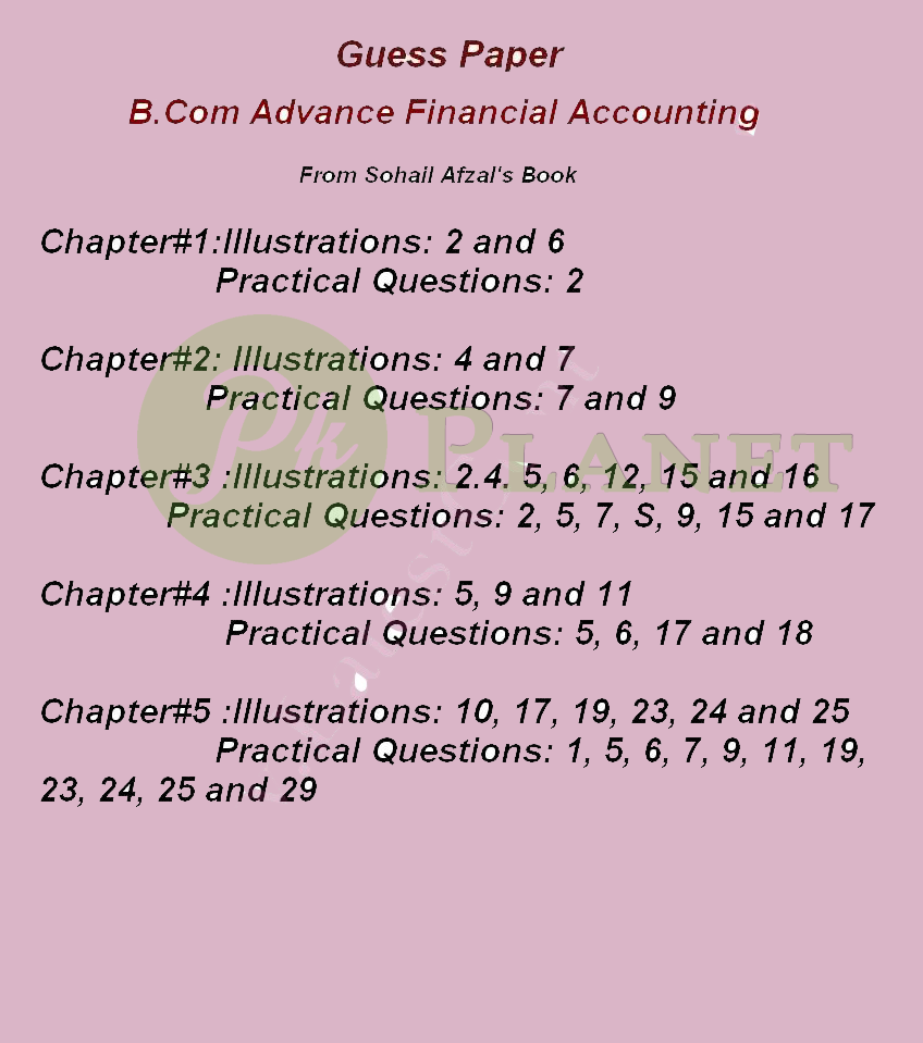 Advance Financial Accounting Guess Paper for B.Com