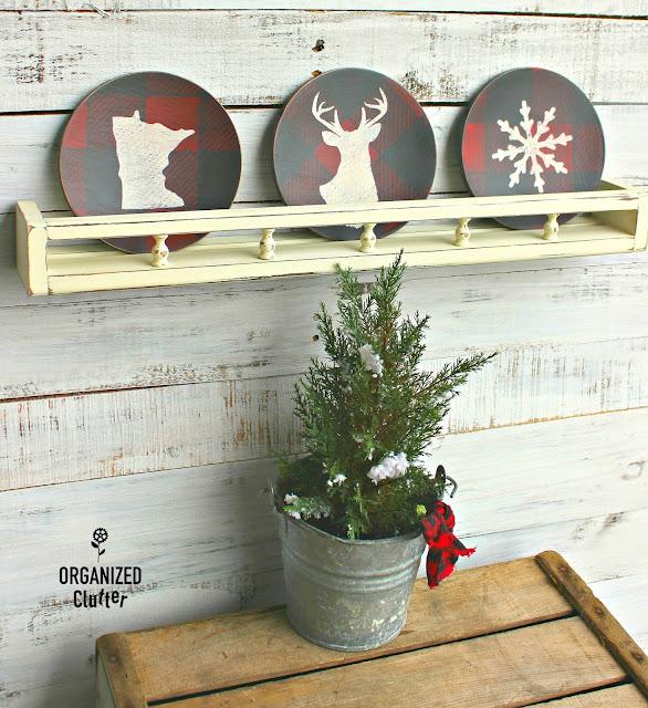 Thrift Shop Wooden Salad Plates to Christmas/Winter Decor organizedclutter.net