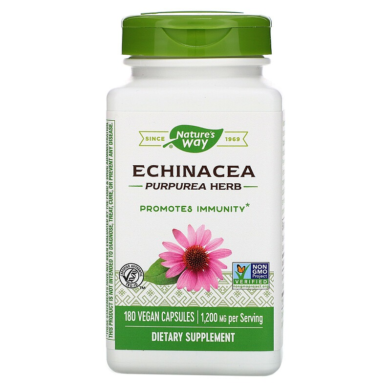 Nature's Way, Echinacea Purpurea Herb, 1,200 mg, 180 Vegan Capsules