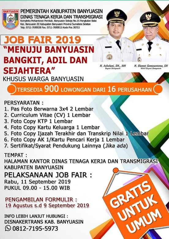 Job Fair Kabupaten Banyuasin 2019 Sumsel Loker