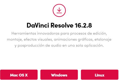 davinci resolve versión 16