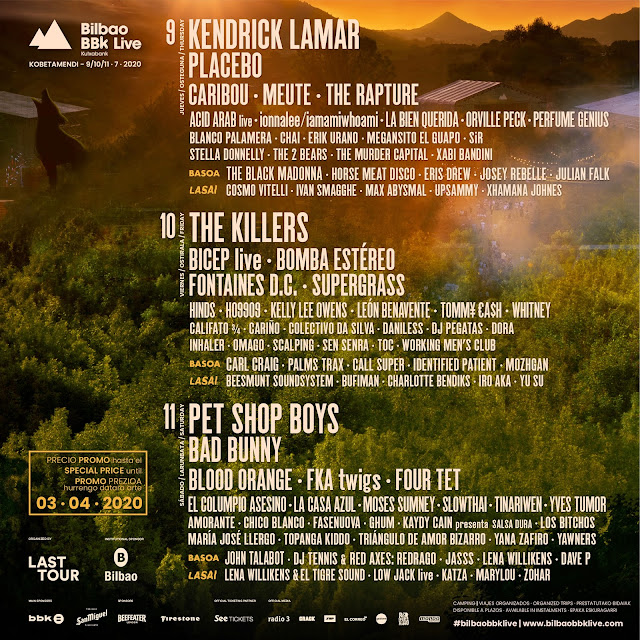 cartel, bilbao, bbk, live, 2020, kendrick, lamar, placebo, killers, pet, shop, boys, fka, twigs