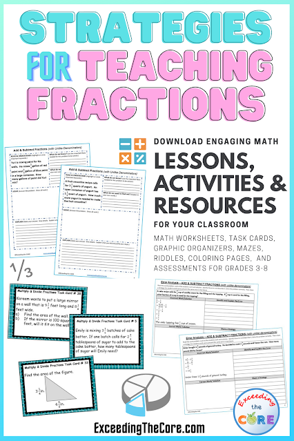 Fraction task cards, fraction word problems, fractions error analysis, fraction assessments, fraction teaching math resources