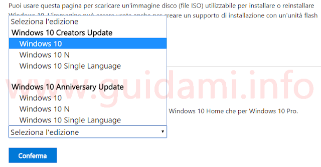 Sito Microsoft per download immagine ISO Windows 10 Creators Update