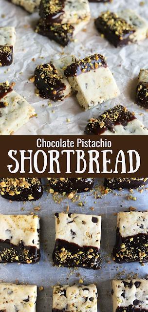 Chocolate Pistachio Shortbread Cookies