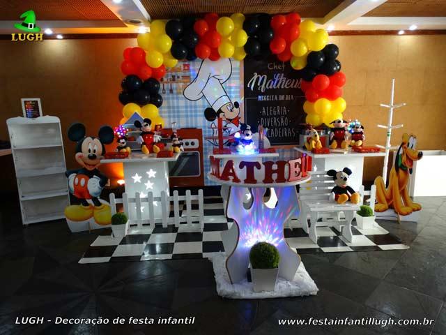 Mesa temática Mickey Chef de Cozinha - Decoração de festa de aniversário tema Cozinha do Mickey