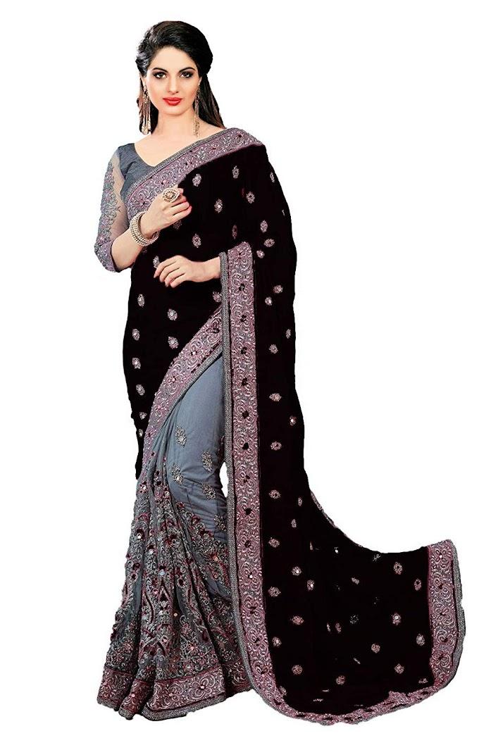 Nivah Fashion Satin & Net Embroidery Half & Half Saree with Blouse Piece(K608)