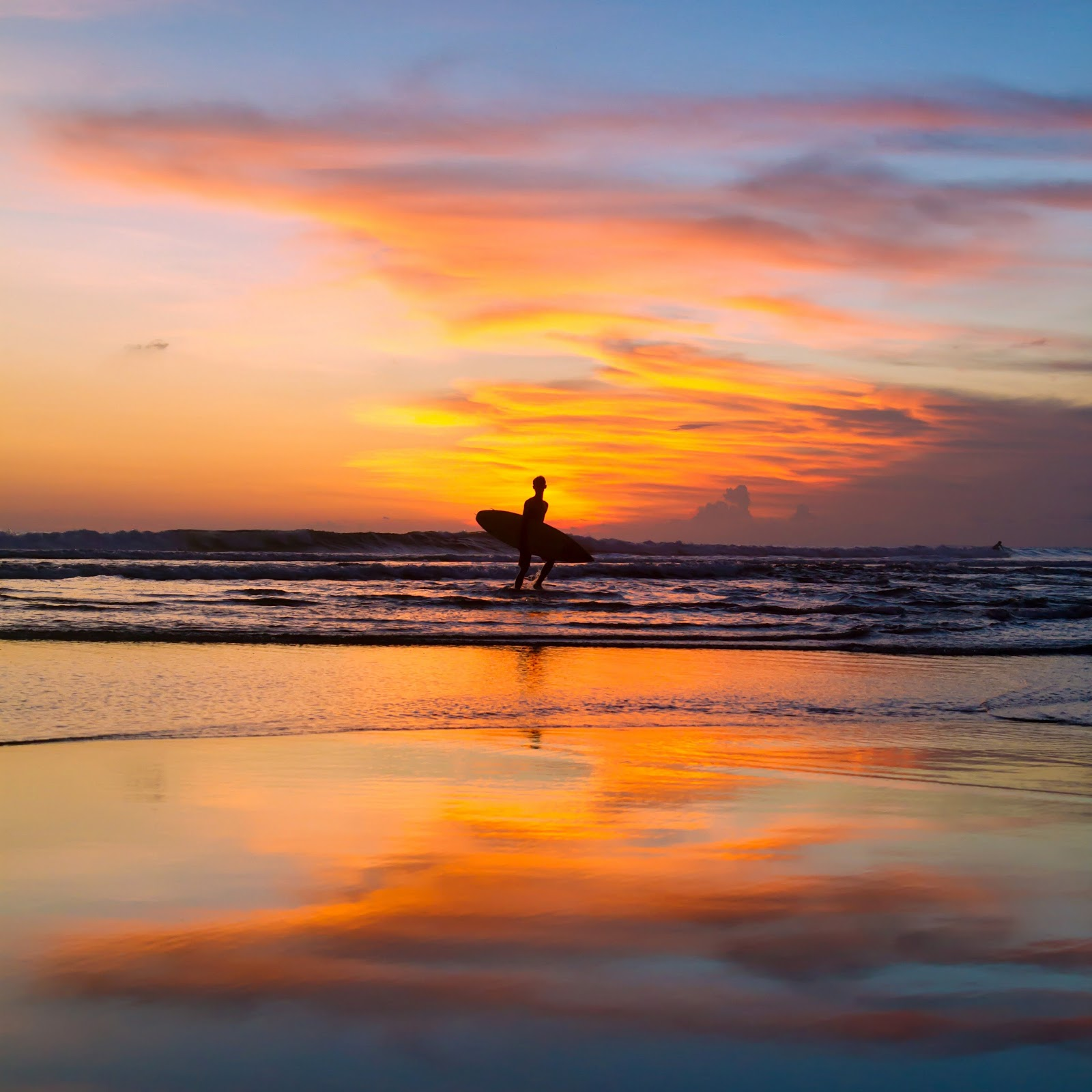 Surfer at Sunset in Canggu, Bali, Indonesia