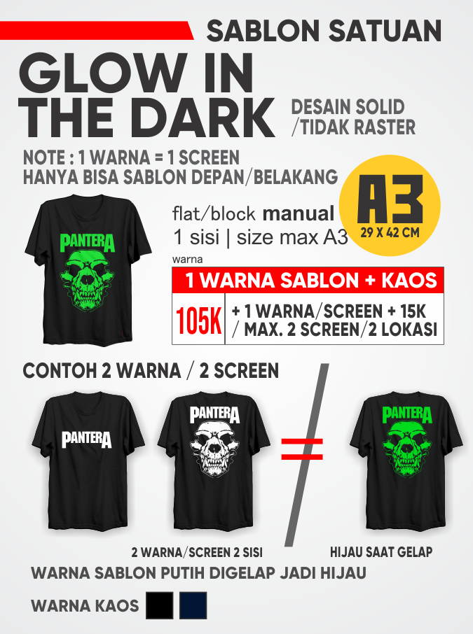 Update Harga Sablon Kaos Satuan Rubber Plastisol Glow in The Dark Manual Lebih Awet