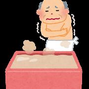 ヒートショックのイラスト「お風呂場でふるえる老人」