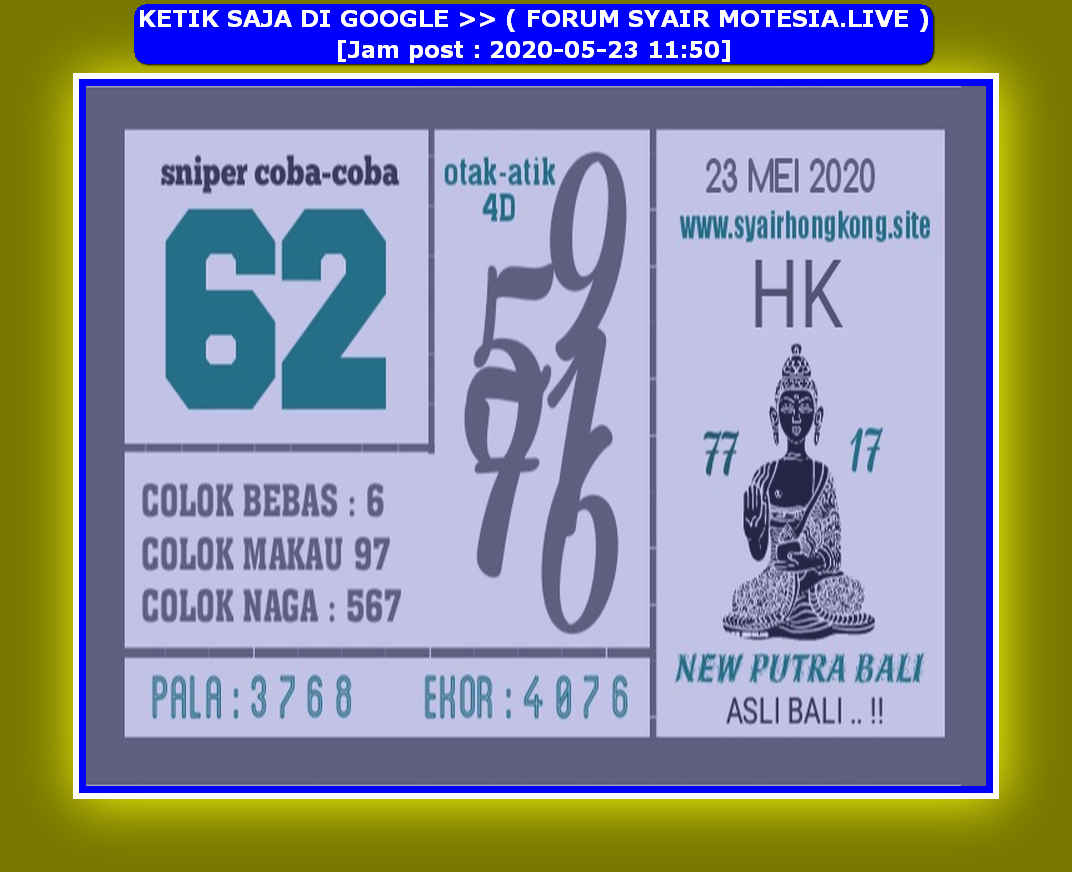 Kode syair Hongkong Sabtu 23 Mei 2020 80