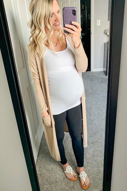 Maternity leggings with duster cardigan