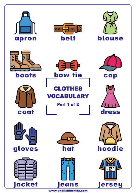 Clothes vocabulary - printable poster for English learners
