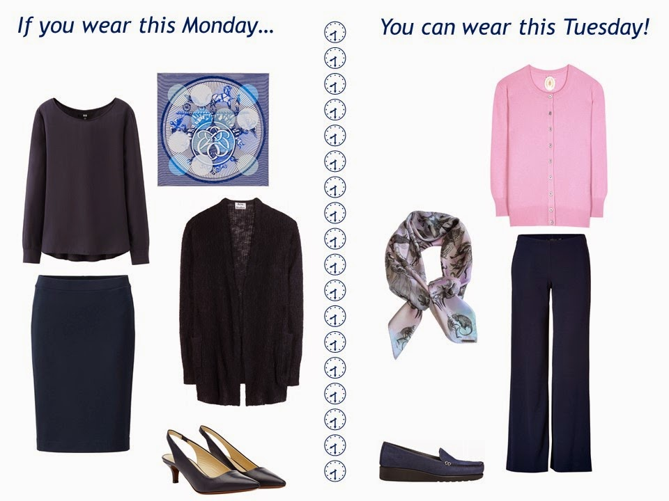 "two outfits in navy and pastels, taken from a navy ""Monday Morning Wardrobe"" and pastel additions"